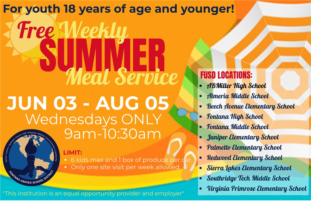 Free Weekly Summer Meal Service