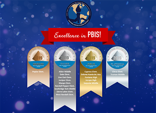 PBIS graphic with all a list of schools